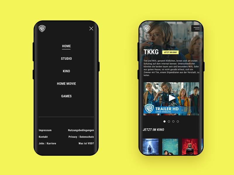 WB Mobile View website design movie website screen design ui design