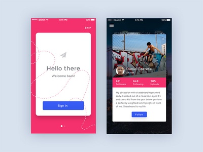 Lampo – Mobile UI Kit ux ui minimal iphone ios gui design login profile app