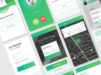 Parking App : UX Case Study & Design Process app ios ticket menu call login map card wireflow personas ux ui