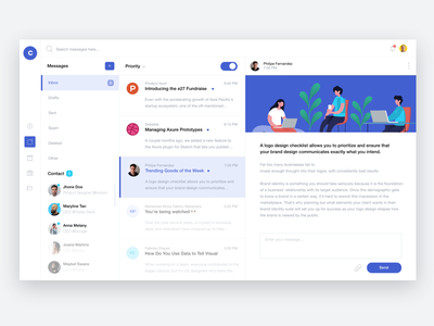 Inbox Web App illustration dashboard ui dashboard uiux ui web message interface inbox email desktop conversation cloud app