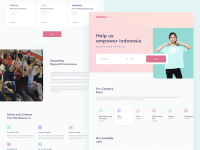 Bukalapak Career Landing Page jobs app clean web website simple flat card landing page ux ui