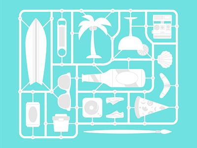 Summer Sprue kit building illustration vans polaroid vacation summer sprue model