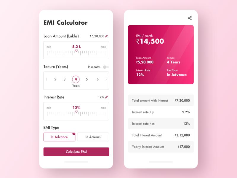Car Loan Emi Calculator Dailyui By Hemant Bisht On Dribbble