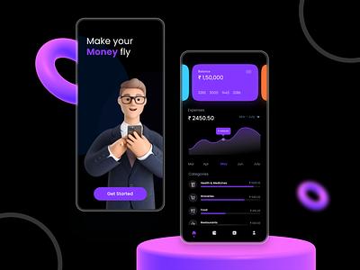 Finance App typography minimal icon branding ux ui illustration design clean app