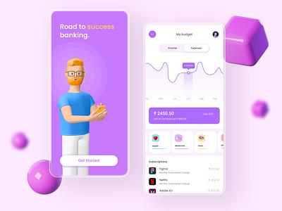 Finance App typography animation graphic design ux ui minimal illustration icon design clean app