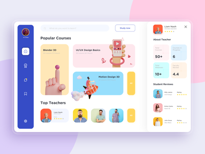 E-learning Dashboard - Student Version typography graphic design ux ui minimal illustration icon design clean app