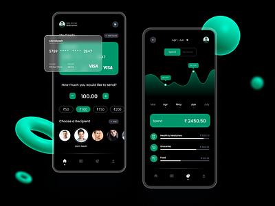 Finance Tracker Dark App UI : Fintech Version typography graphic design ux ui minimal illustration icon design clean app