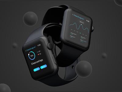 WatchOS Fitness Tracker UI vector branding ui minimal illustration icon design clean app logo motion graphics graphic design 3d animation