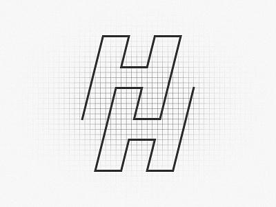 HubHero Monogram Anatomy minimalist visual identity hero hub hh symmetry monogram tech vector logo design branding
