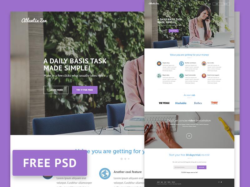 Atlantix Zen - Free PSD website template web template web design free psd psd saas ui photoshop freebie free