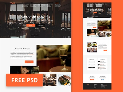 PSD Freebie: Voila - Restaurant web design template flat website download restaurant free web template ui photoshop web design psd freebie