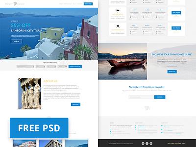 Discover Greece - Travel agency free PSD web design template travel agency psd ui web template web design photoshop freebie free free psd travel