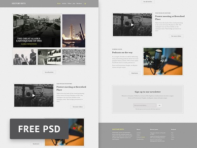 History Bits Magazine Psd Template ui web template web design photoshop freebie free free psd magazine online