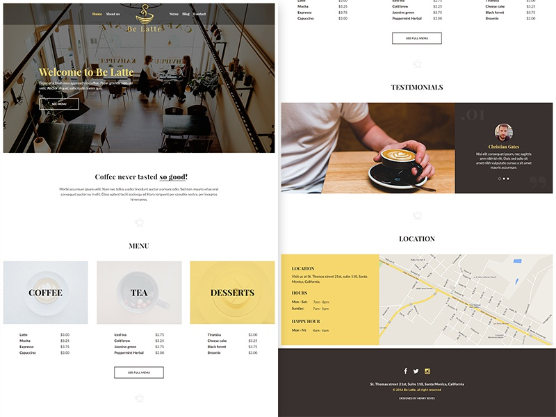 be latte coffee shop free psd web template by henry reyes dribbble. Black Bedroom Furniture Sets. Home Design Ideas