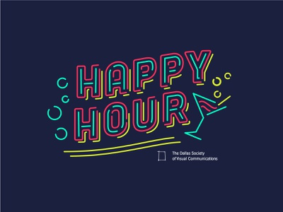 DSVC Happy Hour neon sign neon typography illustration dsvc happy hour