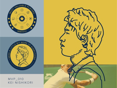 MVP_010 challenge portrait illustration coin tennis japan kei nishikori