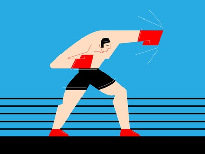 Boxer character fight man character design illustration boxing