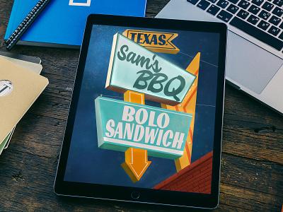 Uncle Sam's BBQ signage midcentury typography texas procreate illustration