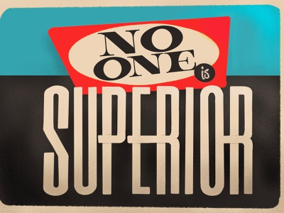 No one is superior dfw texas fort worth procreate mid century typography illustration