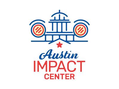 Austin Impact Center Logo car building capital minimal line brand austin typography texas logo branding