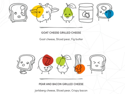 Grill Cheese Recipe Illustrations recipe bacon food clean fort worth texas vector illustration line art cheese illustrations