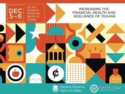 Raise Texas Event Branding money banking characters vector illustration clean brand minimal branding texas