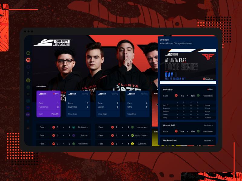 Call Of Duty League Live dashboard esports explore visual design product web design ux ui design