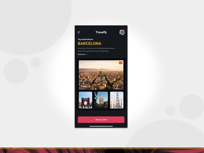 Travel To Barcelona Yeah! visual design travel card mobile explore product ux ui design