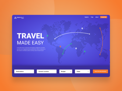WalkAbout Travels IS COMING home page web design blue purple app ux ui travels explore creative