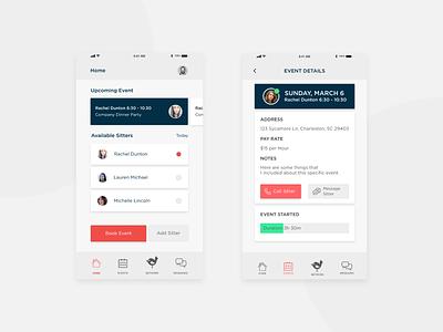 SitterBank Rework rework cards blue pink application bank sitter mobile explore product ux ui design