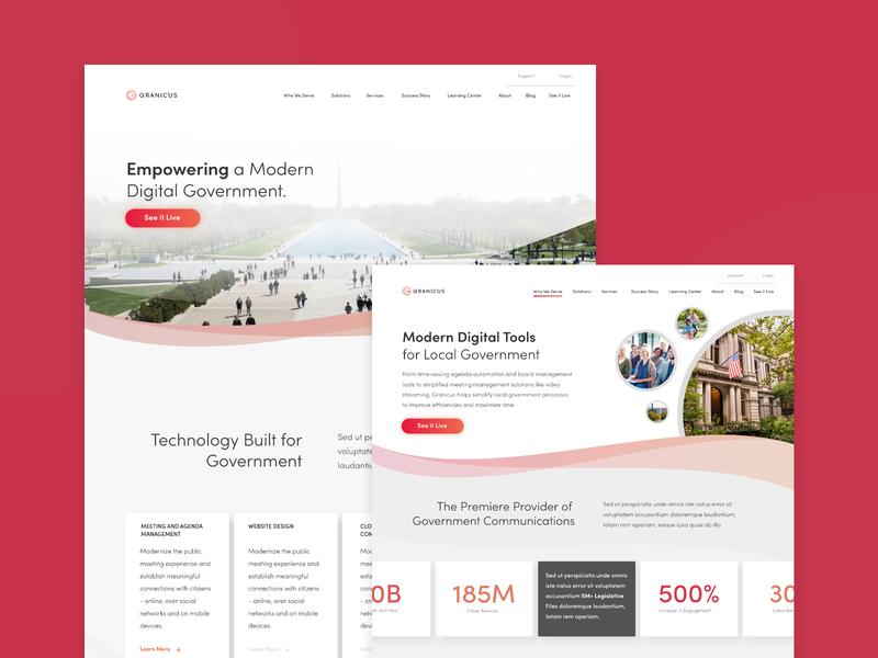 Granicus website Redesign adobexduikit adobexd product ux visual design explore design ui clean web design