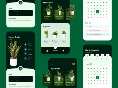Plant Management App Ui Concept home indoor trees plancare plant illustration plantmanagement plant appuiux appuidesign mobile app design minimal illustration design