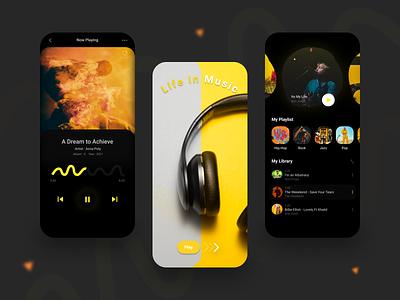 Music App UI Concept 2021 design designinspiration dark mode dark ui library playlist mobile music app music newshot app designtrends designideas appuidesign appuiux mobile app design minimal illustration design