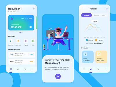 Financial Management App - UI Concept income statistics icon typography mobile management financial designideas appuidesign appuiux mobile app design minimal illustration design