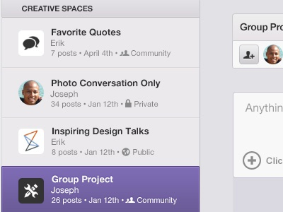 Creative Spaces chisel list select groups spaces