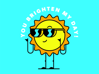 Valentine's sassy character illustration yellow blue bright sunglasses sun