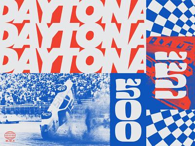 Daytona 500 No.1 wreck checker blue white red america image typogaphy type sports racing vehicle daytona car racecar race nascar