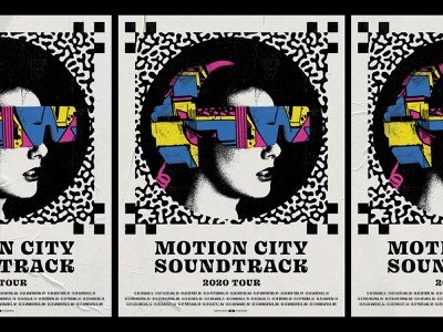 Motion City Soundtrack Tour Poster band pattern black yellow magenta blue color virtual woman future futuristic gig poster poster