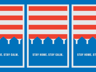 Stay Home. Stay Calm. covid covid19 screenprint poster design illustration red blue