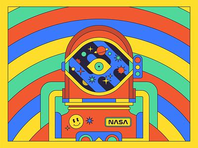 Space Funk monoweight flat illustration design helmet funk planet star astronaut smiley rainbow color space spaceman