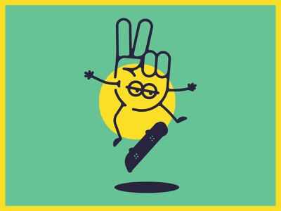 Peace Out flip design shapes color illustration tshirt yellow green peace skate skateboard