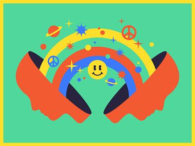 Send Positive Vibes open send burst stars rainbow person face vibrant smiley peace