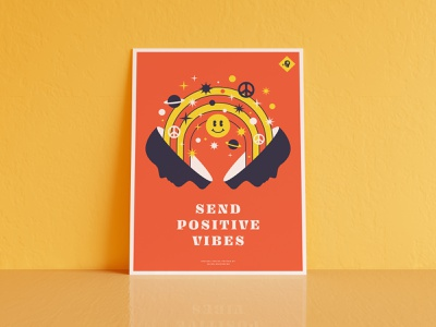 Send Positive Vibes Poster navy yellow red space stars peace positivevibes positive smiley screenprint rainbow for sale poster
