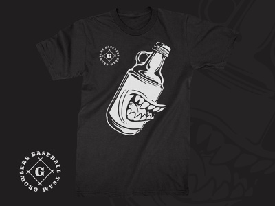 Growlers drink monster growler beer teeth illustraion black t-shirt tshirt