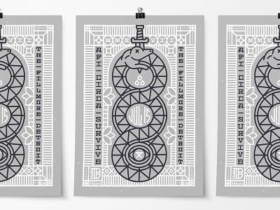 AFI / Circa Survive Poster white grey sword embellishment eye blood snake