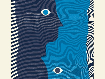 Alt-J Closeup gig poster weird blue dark blue eyes wavy overlay faces