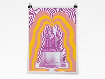 Art Print illustration wavvy statue bright psychadelic detroit