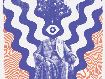All Seeing Eye swirl bitmap white red blue wavvy psychadelic statue halftone eye