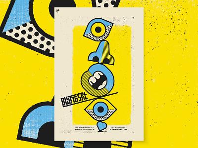 Built To Spill heart nose eye mouth face screenprint black yellow blue pop art