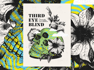 Third Eye Blind screenprint flowers skull bright lines psychedelic poster gigposter gig